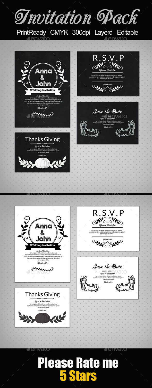 Black & White Invitation Pack - Cards & Invites Print Templates