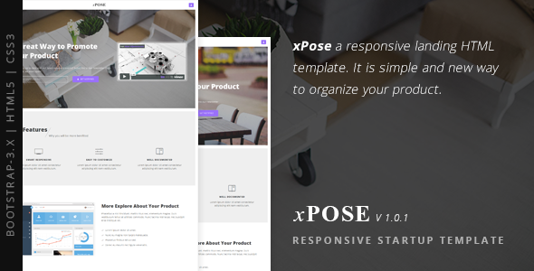 xPose - Responsive Startup Landing Page - Creative Landing Pages