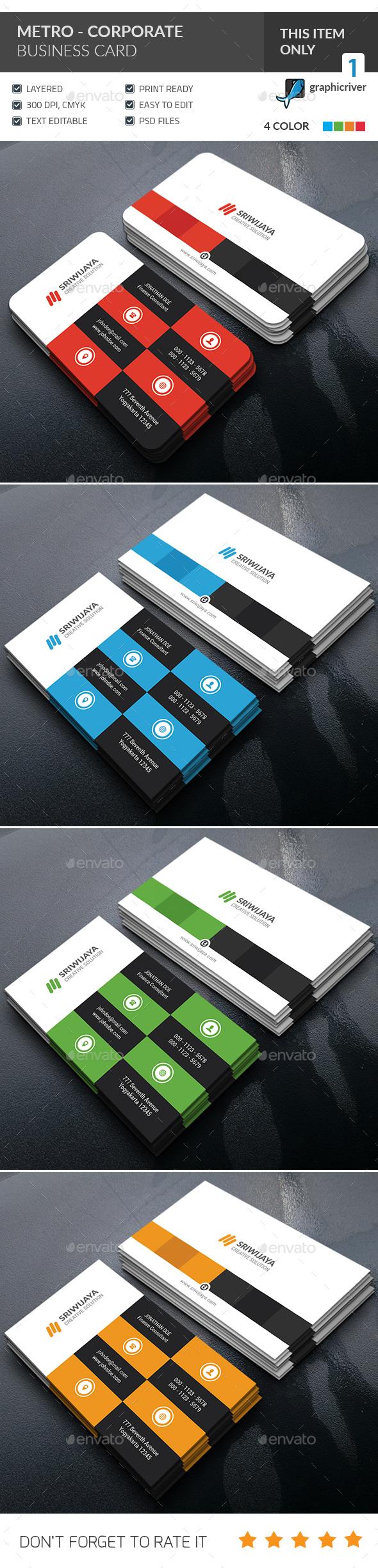 Metro Corporate Business Card - Corporate Business Cards