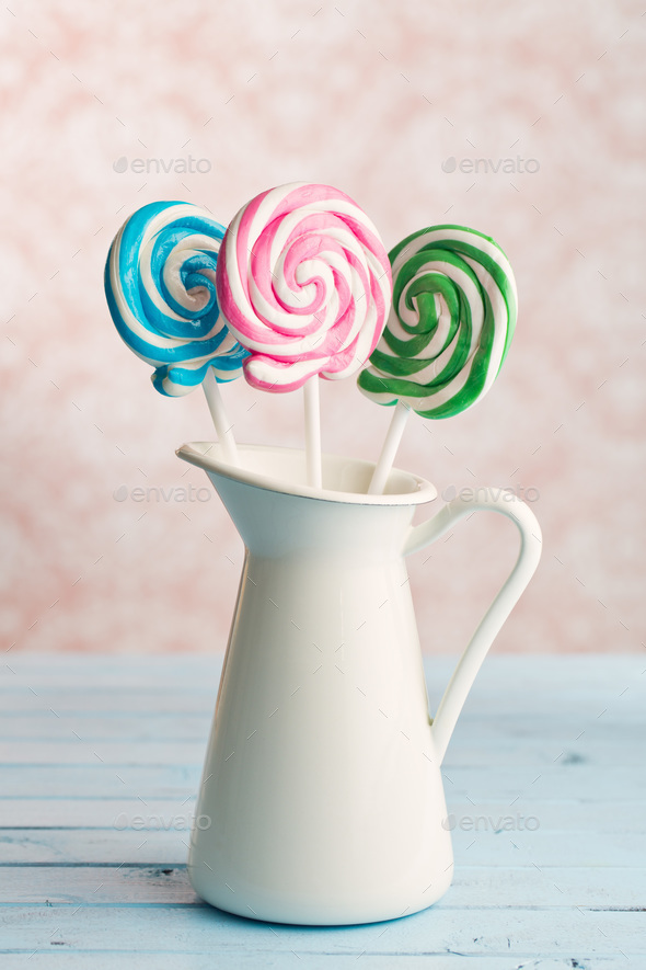 colorful swirl lollipop - Stock Photo - Images