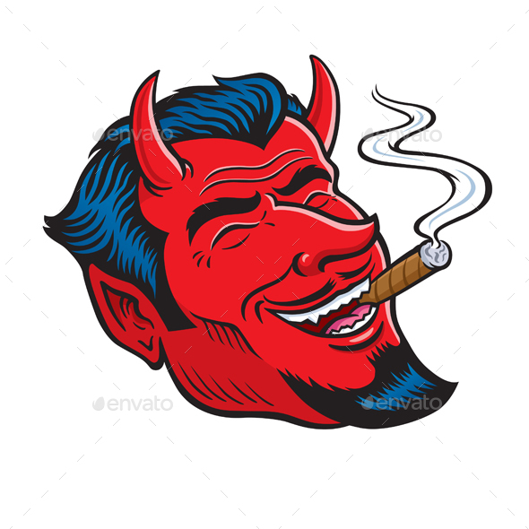 Laughing Devil Face Smoking Cigar - People Characters