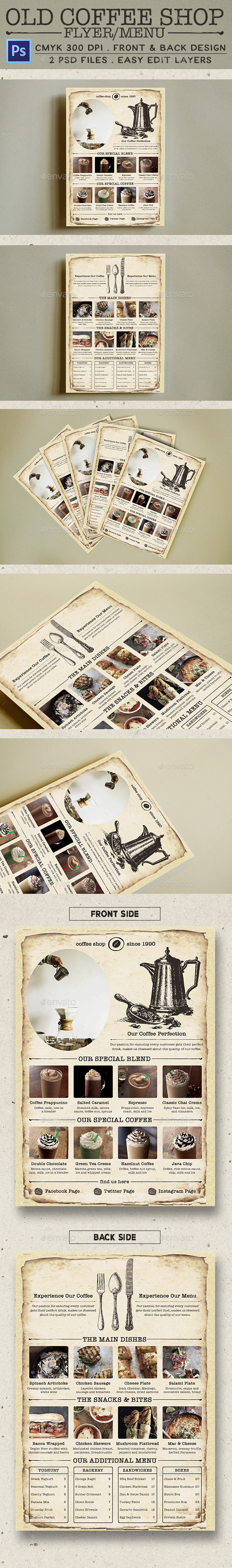 Old Coffee Shop Flyer - Food Menus Print Templates