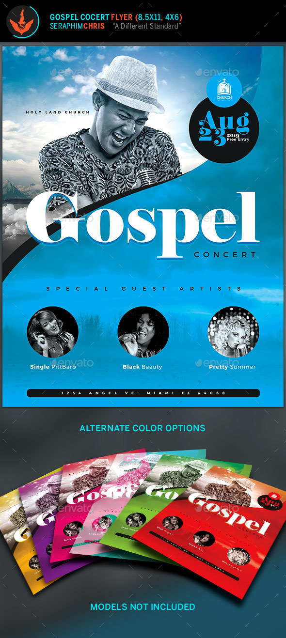 Modern Gospel Concert Flyer Template  - Church Flyers