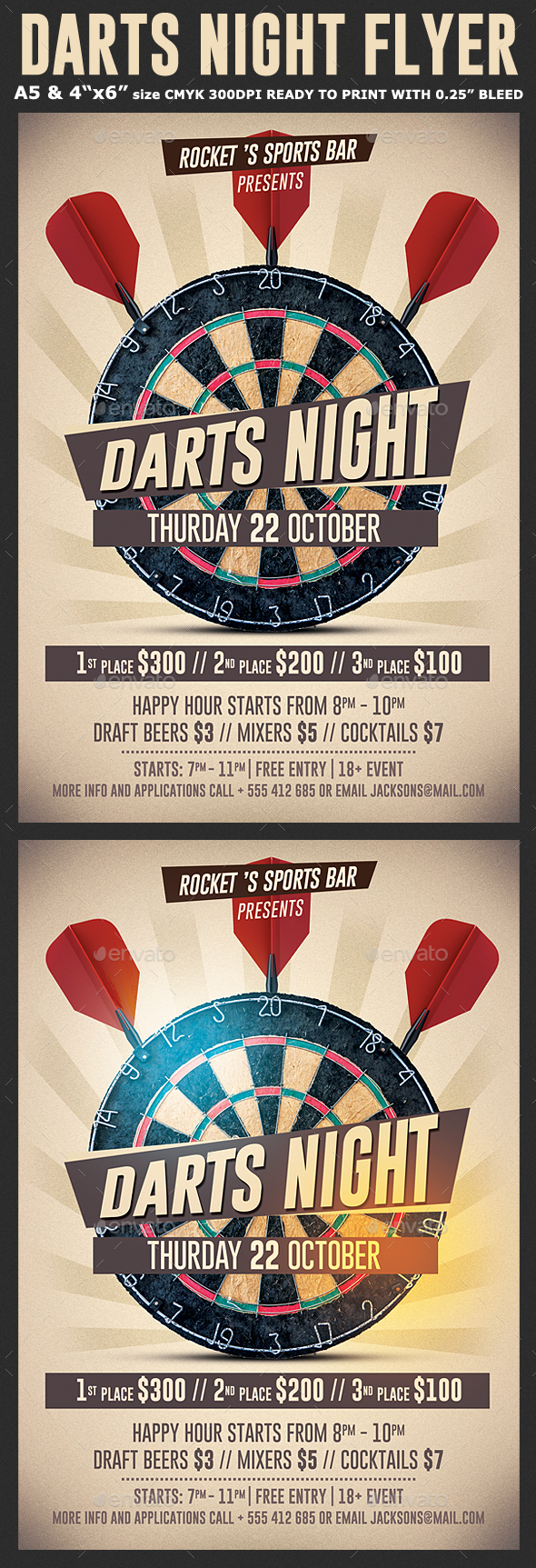 Darts Night Flyer Template - Events Flyers