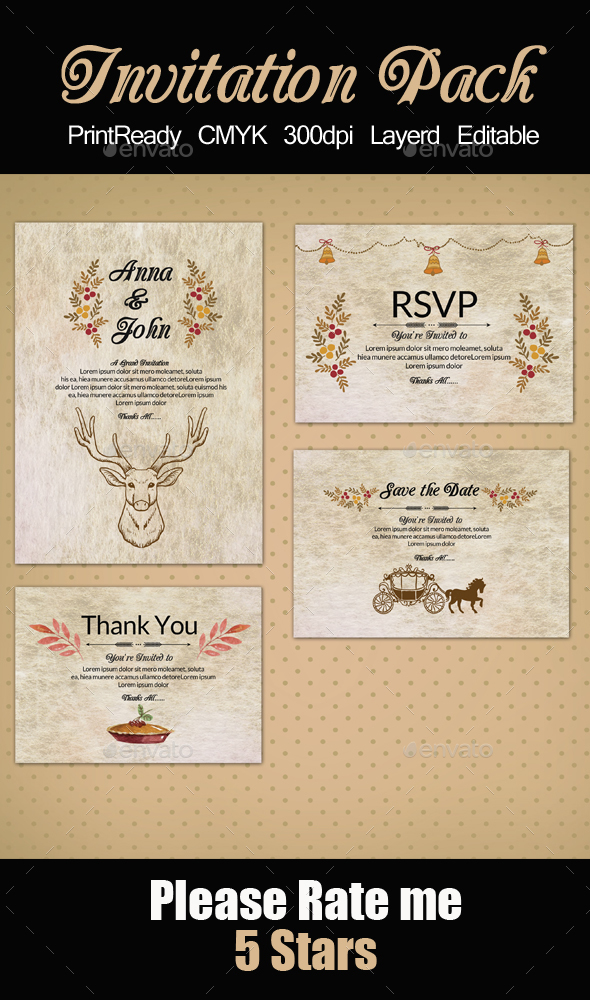 Rusty Invitation Pack - Cards & Invites Print Templates