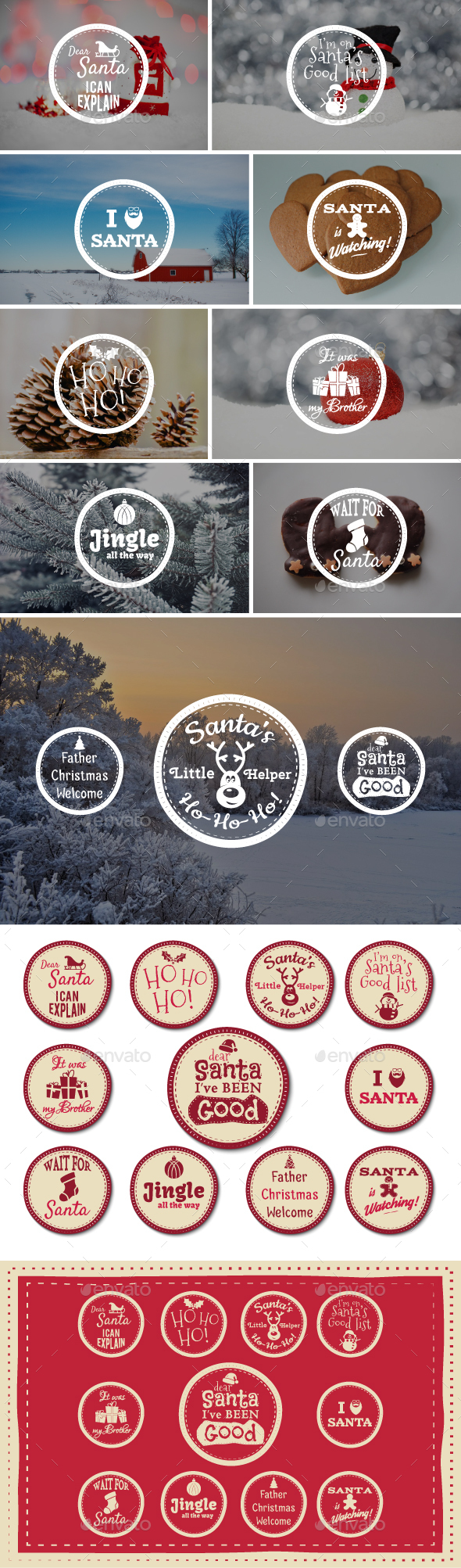 Funny Christmas Badges Collection - Badges & Stickers Web Elements