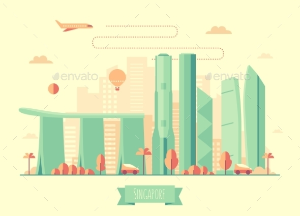 Singapore Skyline Architecture Illustration Flat - Travel Conceptual