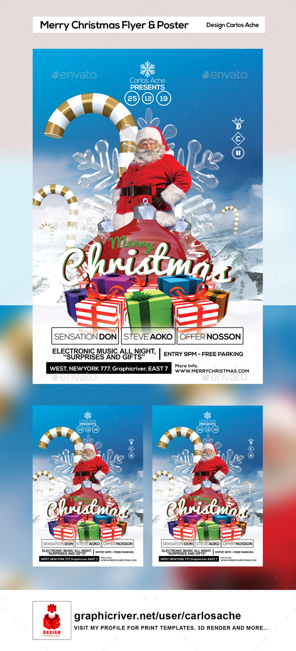 Merry Christmas Flyer and Poster - Holidays Events