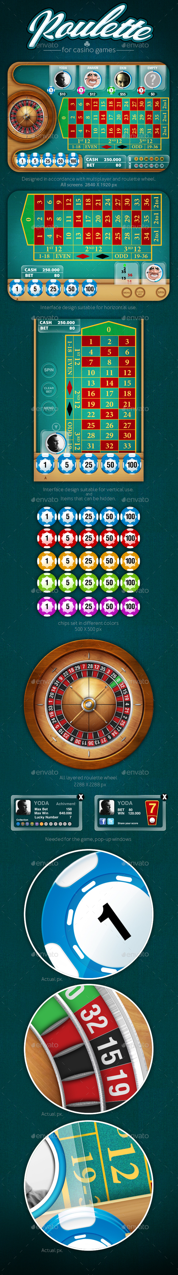 Roulette Game for Mobile Platforms - User Interfaces Game Assets