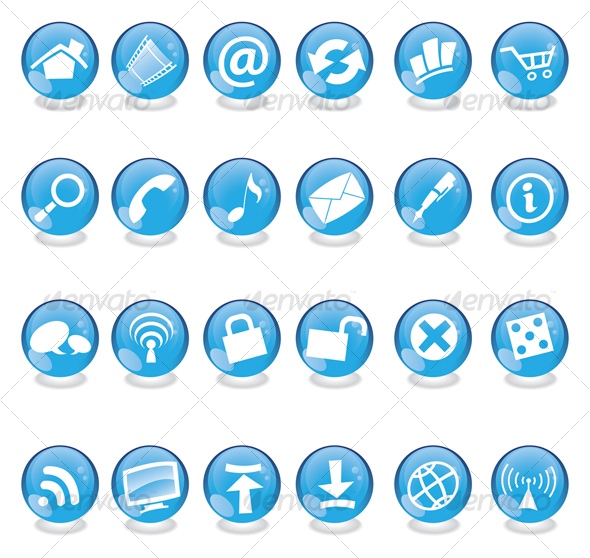 blue glass web icons - Web Icons