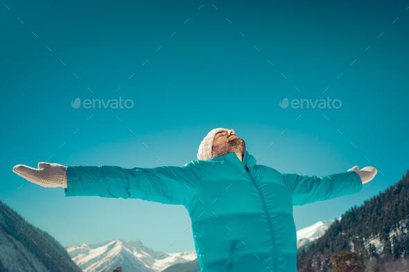Freedom winter mountain man - Stock Photo - Images