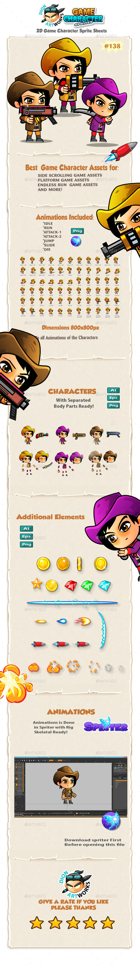CowGirls 2D Game Character Sprites 138 - Sprites Game Assets