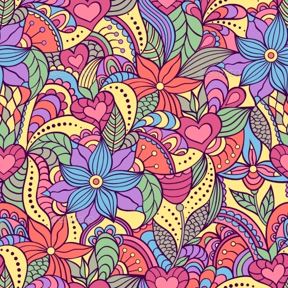 Seamless Pattern with Abstract Flowers - Patterns Decorative