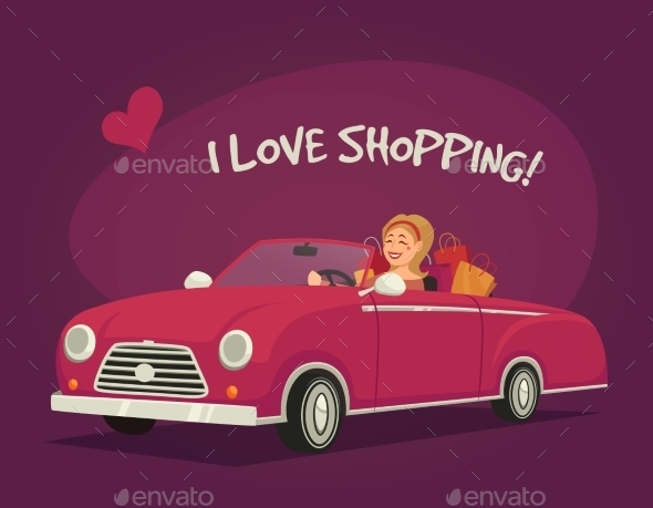 Woman Driving Shopping  - People Characters