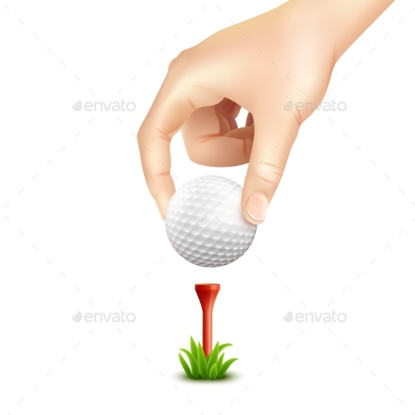 Golf Ball Realistic Background  - Sports/Activity Conceptual