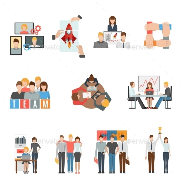 Teamwork Flat Icons Set - Business Icons