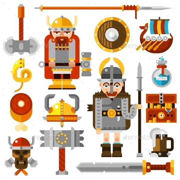 Vikings Icons Set - People Characters