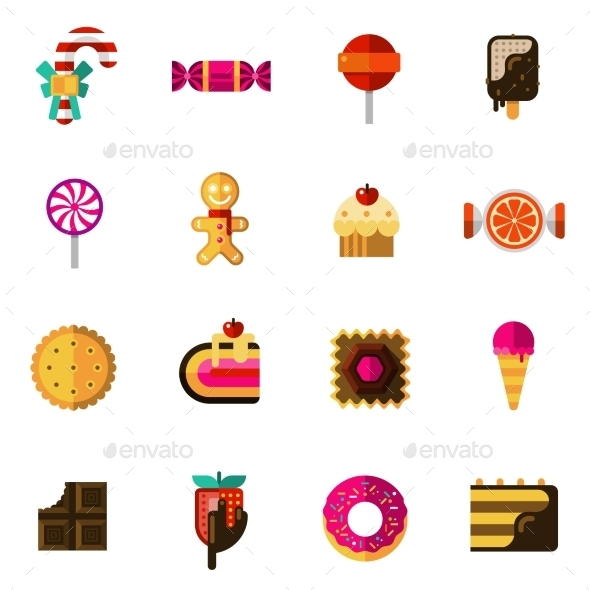 Sweets Icons Set - Food Objects