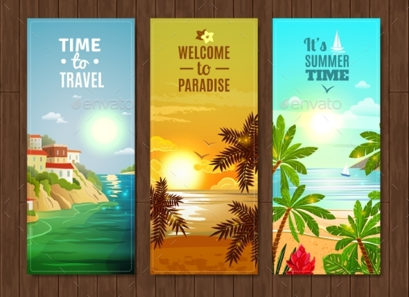 Travel Agency Sea Vacation Banners Set - Travel Conceptual