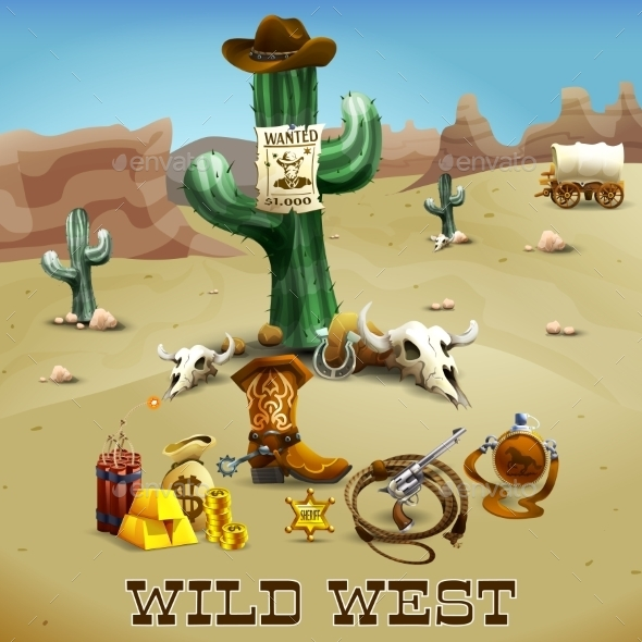 Wild West Background Illustration  - Backgrounds Decorative