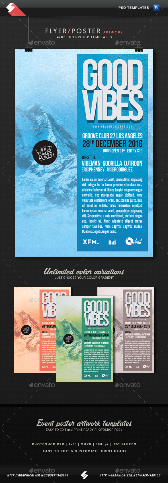 Good Vibes 2 - Winter Edition Flyer Template - Clubs & Parties Events
