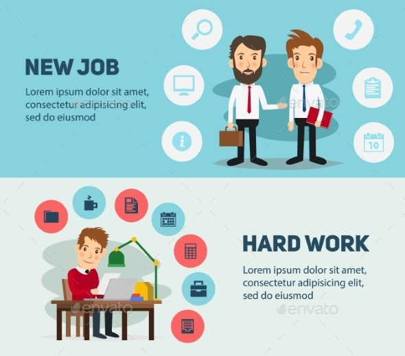 New Job Search And Stress Work Infographic. Office - Concepts Business
