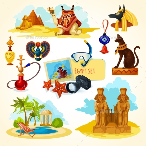Egypt Touristic Set - Travel Conceptual