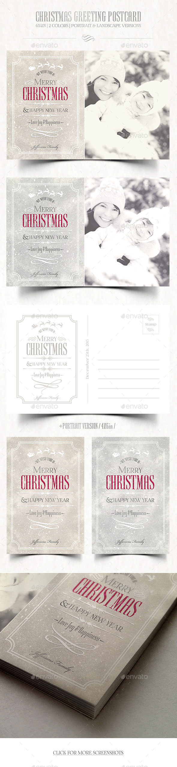 Christmas Greeting Postcard - Holiday Greeting Cards