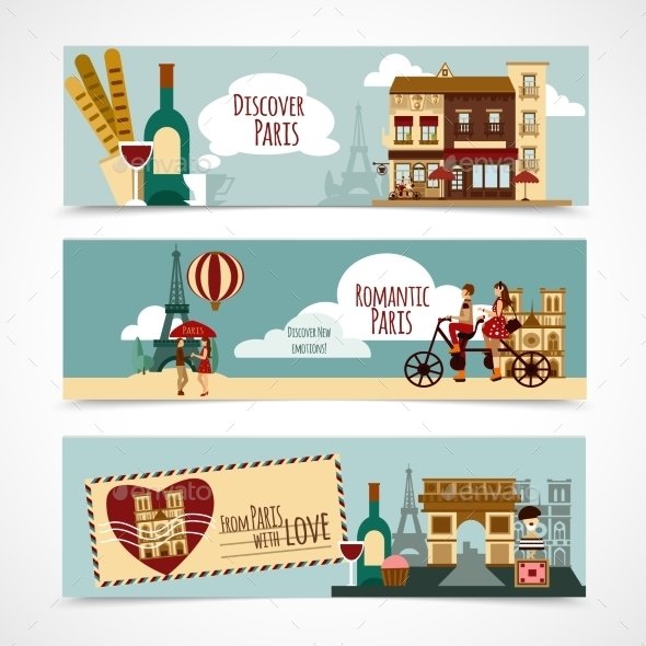 Paris Touristic Banner - Buildings Objects