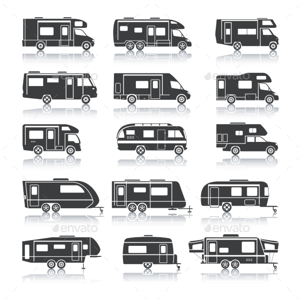 Recreational Vehicle Black Icons - Travel Conceptual