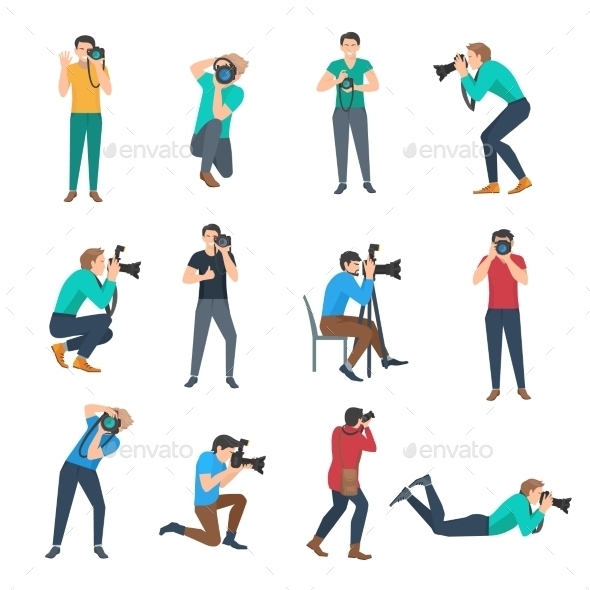 Photographer Avatars Set - People Characters
