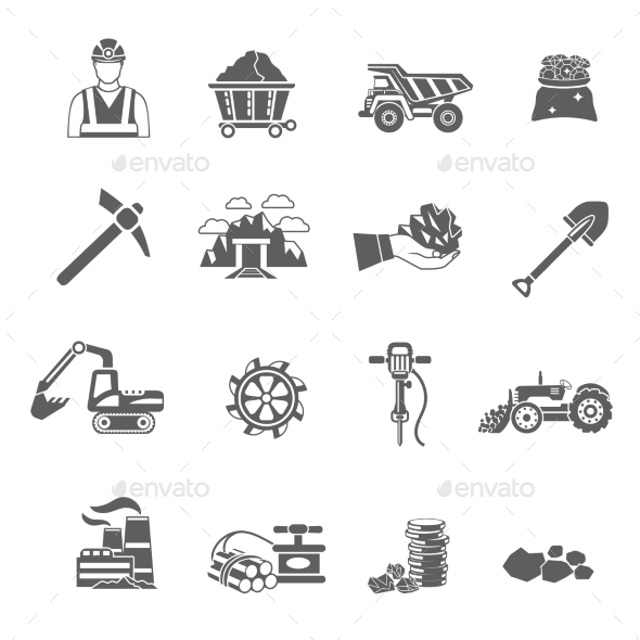 Mining Icons Set - Miscellaneous Icons