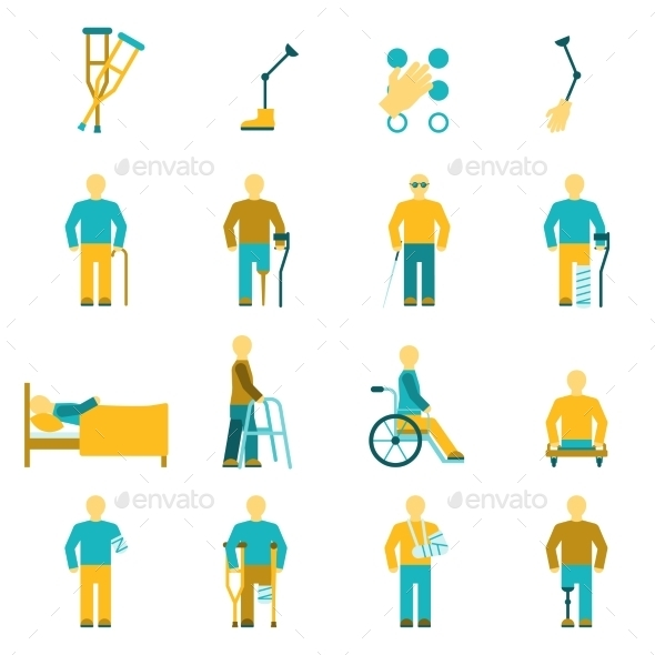 People With Disabilities Icons Set - People Characters