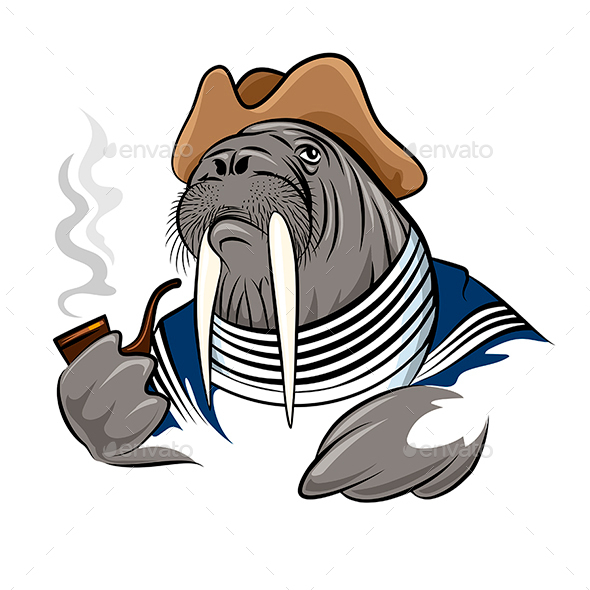 Smoking Walrus - Animals Characters