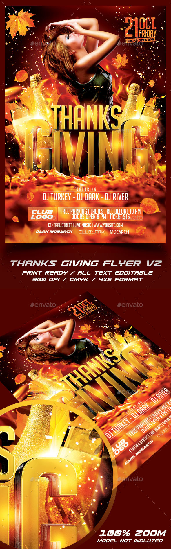 Thanksgiving Party Flyer Template V2 - Holidays Events