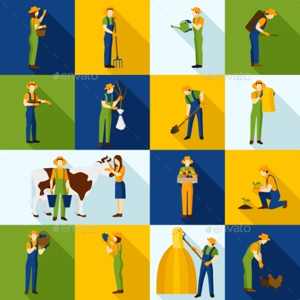 Working  Farmers and Gardeners Color Icons - People Characters