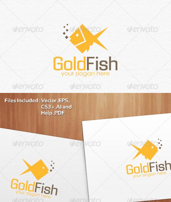 Gold Fish Logo Template Design - Nature Logo Templates