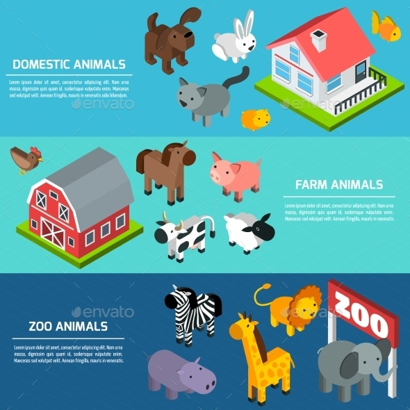 Isometric Animals Banners - Animals Characters