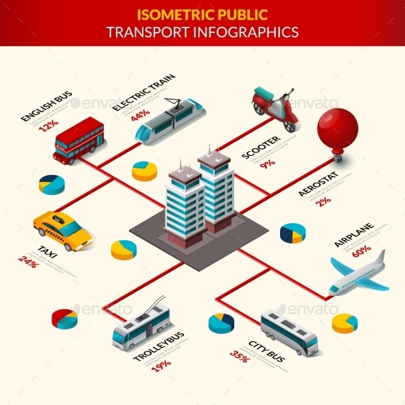Public Transport Infographics Set - Miscellaneous Vectors