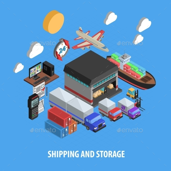 Shipping and Storage Isometric Concept - Industries Business