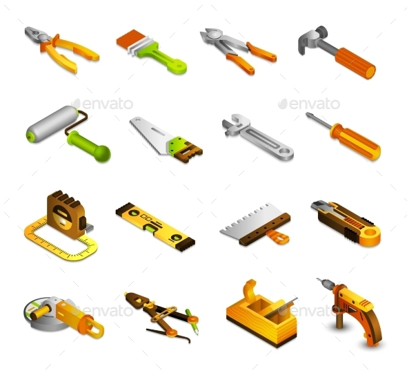 Tools Isometric Icons - Man-made Objects Objects