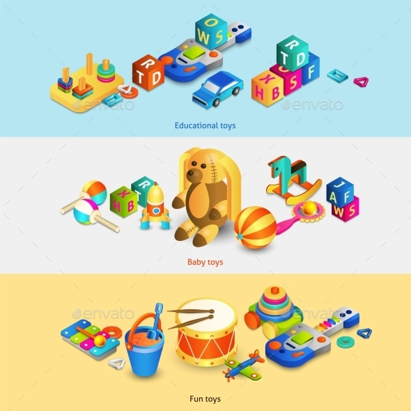 Toys Isometric Banners - Man-made Objects Objects