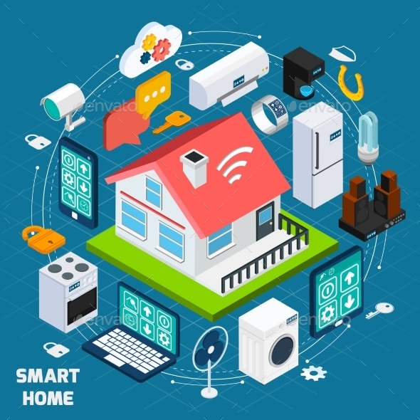 Smart Home Lot Isometric Concept Banner - Communications Technology