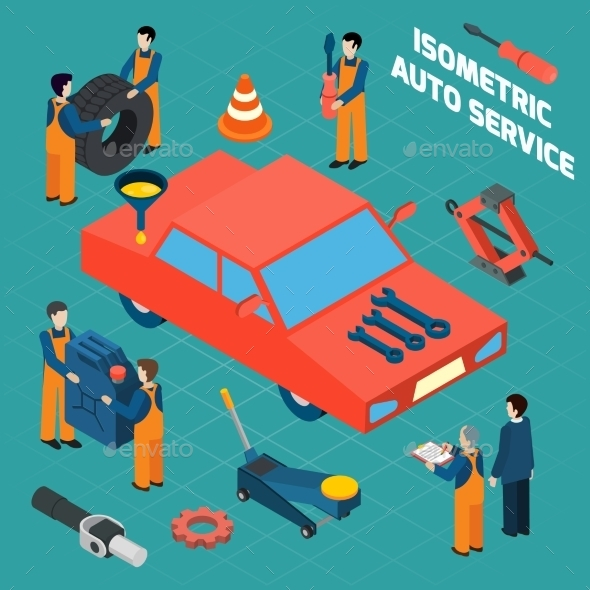 Auto Service  Isometric Icons Set - Services Commercial / Shopping