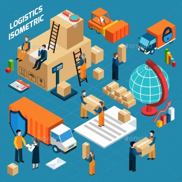 Isometric Warehouse Logistics Concept - Services Commercial / Shopping