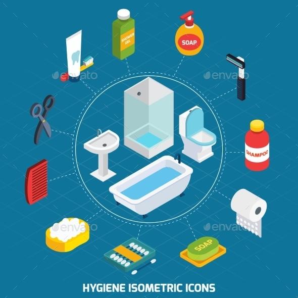 Hygiene Isometric Icons Set  - Decorative Symbols Decorative