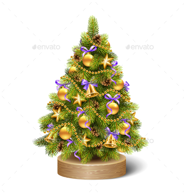 Decoration Christmas Tree Pine on Wooden Stand - Seasons/Holidays Conceptual
