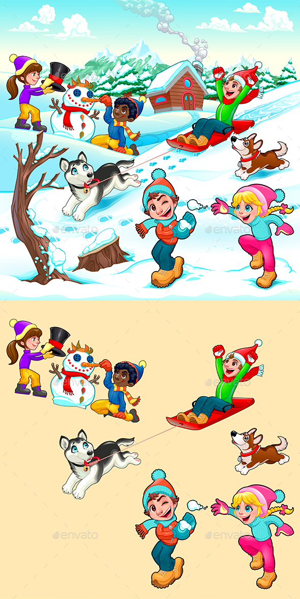 Funny Winter Scene with Children and Dogs - Christmas Seasons/Holidays