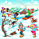 Funny Winter Scene with Children and Dogs - GraphicRiver Item for Sale
