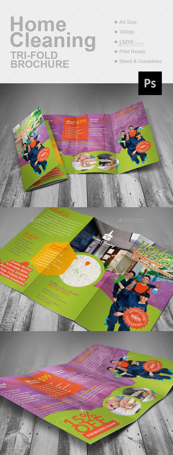 Home Cleaning Tri-Fold Brochure - Corporate Brochures